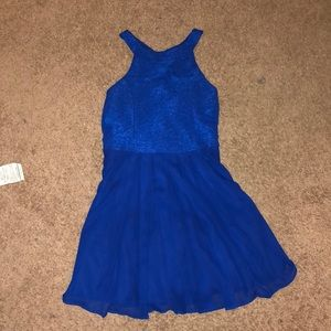 Bow-back Dark Blue Glitter Fit and Flare Dress